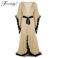 ingrosso vedere attraverso l'abito della biancheria-Sexy Ladies Lingerie Trasparente Sleepwear Donna Nightwear Babydoll Flare Sleeves Feather Wrap Robe See Through Long Accappatoio Y19070402