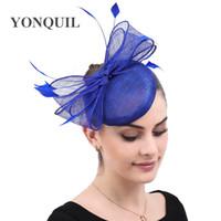 fascinator azul sombreros al por mayor-Royal señoras de pelo azul boda sinamay fascinator sombrero de las mujeres elegantes de la fiesta casco sombreros magnífico manera con el accesorio de proa