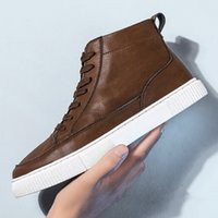 Wholesale casual high boat shoes resale online - Men Fashion Lace Up Ankle Boots Genuine Leather British Men Boot High Quality Casual Shoes Waterproof Male Boats