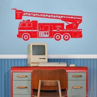 Wholesale boys toy room resale online - Fire truck wall decal Car wall decoration stickers kid s room Toys decor vinyl decals for boy nursery bedroom boy s room