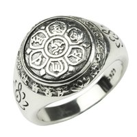 Wholesale men chain fine for sale - Group buy Real Solid Sterling Silver Jewelry Vintage Buddha Six Words Mantra Rings For Women And Men Bijouterie Fine J190626