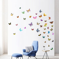 Wholesale chirstmas crafts for sale - Group buy 88pcs set Colorful Butterfly Wall Stickers DIY Art Decor Crafts For Nursery Classroom Offices Bedroom Living Room Decoration