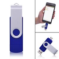 computador caixa azul venda por atacado-J-boxe azul 16 gb usb flash drive giratória dupla porta memory stick thumb drives armazenamento para computador tablet smartphone android macbook