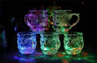 liderliğindeki bira kupaları toptan satış-LED Işık Lüminesans Şarap Suya Parlak Bira Kupa Aydınlık Bardak Renkli Bar Bardak Ejderha Kupalar Bireysel