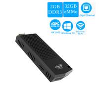 china dual intel achat en gros de-T6 pro MINI PC Intel Atome Z8350 quad core 1.44GHz 2G / 32G 4GB / 64GB Ventilateur intégré Windows 10 2.4Ghz 5.8Ghz WIFI win10 Compute Stick