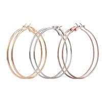 ohrringe schleifen großhandel-3 Paar Frauen Dünne Runde Große Hängende Schleife Ohrringe (A)