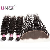 Wholesale unice hair for sale - Group buy UNice Hair Virgin Brazilian Deep Wave Bundles With Frontal Free Part Lace Frontals With Bundles Remy Human Hair Weaves With Lace Frontal