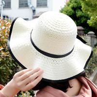 ingrosso cappelli da sole coreani per le donne-Cappello da spiaggia in stile coreano con bordo estivo in paglia da donna Cappello da spiaggia con protezione UV Cappello da spiaggia con fiocco in protezione UV