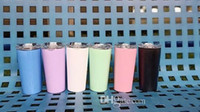 Wholesale 16oz bottles for sale - Group buy 16oz Straight Tumbler Drinking Cup Candy Color Stainless Steel Flask Portable Straw Water Cup Students Vacuum Bottle with lid