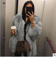 abrigo de piel sintética esponjosa al por mayor-Vintage mujeres abrigo de piel sintética cortocircuito mullido peludo piel sintética de color rosa ropa de invierno abrigo gris otoño abrigo fiesta informal