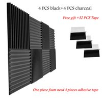 Wholesale soundproofing foam resale online - 12 inches Wedge Acoustic Foam with Adhesive Tape Soundproof Panels