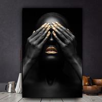 mujeres africanas pintadas al por mayor-Mano Negra y Labio Dorado Mujer Desnuda Pintura Al Óleo sobre Lienzo Cuadros Pósters e Impresiones Arte de Arte de Pared Africano Sin Marco