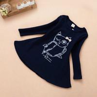Wholesale owl clothing girl resale online - New Baby Girl Short Dress Long Sleeve Kids Owl Printed Dress for Girl Children Cotton Tunic Fashion Girls Clothes Hot Seller