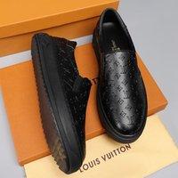 kaliteli deri kayma ayakkabıları toptan satış-2019 k Baskılı stripes Erkek Slip-On Rahat Ayakkabılar en kaliteli lüks tasarımcı rahat ayakkabılar Hakiki Deri Slip-On Rahat Erkekler Ayakkabı boyutu 38-46