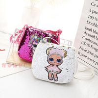sacs à dos de poupée achat en gros de-Paillettes Enfants Jouets Designer sacs à main lol poupées hangbag 20 * 18cm filles bande dessinée sacs de rangement Sacs à dos sacs à dos hop poche