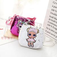 yılbaşı çantası toptan satış-Pullu Çocuk Oyuncakları tasarımcı çanta lol bebekler hangbag 20 * 18 cm kızlar karikatür saklama torbaları Sırt hop-cep yılbaşı hediyeleri çanta