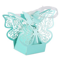Wholesale first communion gifts resale online - 10pcs Wedding Gift Boxes Bags Hollow Butterfly Candy Box For Baptism Birthday First Communion Christening Party Supplies