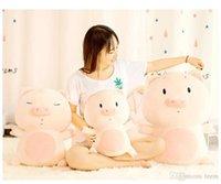 battaniye bebekleri toptan satış-Squishy sarılmak domuz Dolması oyuncaklar Bebek Yalan 50 cm Peluş gözler Piggy Oyuncak YEŞIL Pembe Hayvanlar Yumuşak Plushie El Isıtıcı Battaniye Çocuklar Rahatlatıcı Hediye