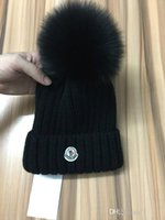 Wholesale virgin ball for sale - Branded Women Winter Knit Hat Pure Virgin Wool Fox Fur Fashion Girl Soft Warm Hat
