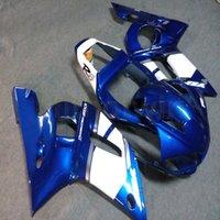 yamaha yzf carenado al por mayor-Pernos + azul blanco personalizado del artículo motocicleta carenado del ABS para Yamaha YZF R6 1998 1999 2000 2001 2002 paneles de motor YZF-R6