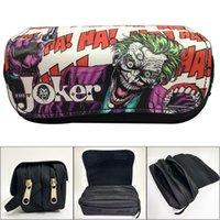 lápis joker venda por atacado-Caixa de lápis lona dos desenhos animados Joker Estudantes Papelaria Pen Pencil Bag Anime trousse Couro maquillage femme casos cosméticos Bags