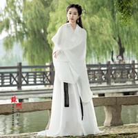 altes weißes kleid großhandel-Klassische antike weiße frauen wenig drachen kleidung alte chinesische hanfu zither weibliche dress leistung body kostüm