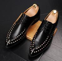 calçado casual de negócios respirável venda por atacado-Rebite de Couro de alta Qualidade Business Casual Sapatos Homens Vestido de Escritório Sapatos de Luxo Masculino Respirável Oxfords Homens Sapatos Formais TAMANHO: 39-43