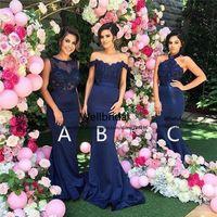 vestidos azules asequibles al por mayor-2017 vestido de dama de Nueva Sirena con 3 Diseño apliques de fiesta de la boda Azul marino vestido de dama de honor asequible