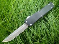 şam cep bıçağı mini toptan satış-Küçük boyutu UT C07 HK mini D / A OTO bıçaklar Şam paslanmaz çelik bıçak isteğe bağlı CNC Siyah / beyaz Pocket knife ile naylon kılıf