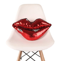 Wholesale lips decor resale online - Sequin Lips Cushion Mermaid Sequin reversible Lip Pillows Red Mouth Car Sofa Living Room Cafe Decor hotel bedroom Cushions kids gift FFA2214