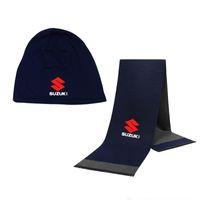Wholesale hats gloves sets for sale - Group buy Winter Beanie Hat Suzuki Car Logo Men Hat Scarf Solid Color Warm Cotton Scarf Set Male Female Sports Set