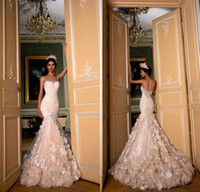 Wholesale dresses exquisite flower for sale - Group buy 2019 Exquisite Champagne Mermaid Wedding Dresses Sheer Neck Floor Length Handmade Flowers Button Back Lace Bridal Gowns