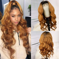 Wholesale full laces wigs resale online - Body Wave Brazilian Remy Human Hair Wigs Glueless Full Lace Wigs Ombre Blonde Color Pre Plucked Bleached Knots lace frontal wig