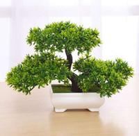 christmas plants achat en gros de-La plante artificielle verte / jaune / pourpre / orange / rouge a mis en pot de faux arbres de bonsaïs de Bonsai pour Noël à la maison