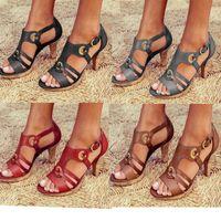 Wholesale women wedges pumps casual shoes resale online - Women Designer high heels shoes Women Sandals Buckle High heeled Pumps Ladies Patent Leather Dress Single Shoes Colors with Box