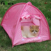 Wholesale pet playpens online - cat nest Portable Foldable Cute Dots Pet Tent Playpen Outdoor Indoor Tent For Kitten Cat Small Dog Puppy Kennel Tents Cats Nest
