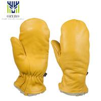 guantes amarillos de esqui al por mayor-OZERO Guantes cálidos de invierno Guantes de esquí de dedo completo Cuero de piel de oveja amarilla Motocicleta deportiva MOTO S1030