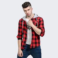 tuxedos für männer plus männer großhandel-Beiläufige Mann-Hemden-lange Hülsen-Mens-mit Kapuze Kleid-Hemden-Baumwollplaid-Hemd-Mann-Smoking-Hemd Plus Size Slim Fit Homme
