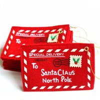 Wholesale pole pendant resale online - To Santa Claus North Pole Christmas Envelope Pendant Card Tree Accessories Christmas Small Gift Candy Bags Home Party Xmas Decor