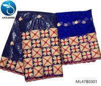 getzner ткани оптовых-LIULANZHI bazin кружевной ткани африканский 2019 кружевной ткани Bazin Riche Getzner платье высокого качества для женщин 7 ярдов / серия ML47B03