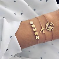 pulseras de avion al por mayor-Bohemia Pulseras de Cadena de Metal de Oro Para Las Mujeres Niñas Mapa de la Moda Del Océano Aeroplano Pulseras Establece Joyería de Moda Vintage
