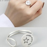 счастливые кольца оптовых-luxury jewelry sterling silver rings happy every day simple open rings classic band rings for women hot fashion