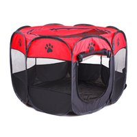 Wholesale easy tents resale online - Portable Folding Pet tent Dog House Cage Dog Cat Tent Playpen Puppy Kennel Easy Operation Octagon Fence