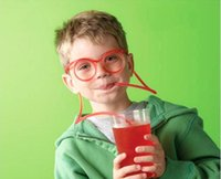 benzersiz saman toptan satış-Çok renkli Yenilik Gözlük İçme Saman Komik Esnek Suyu Payet İçme Benzersiz Esnek İçme Tüp Straw Parti Düğün Malzemeleri
