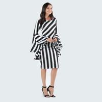 платья с вертикальной полосой оптовых-Платье в вертикальную диагональ в полоску Платья с длинными рукавами с длинными рукавами Lady Bodycon Dress Короткие полосатые лоскутные платья для беременных GGA2054