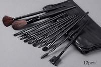 siyah makyaj fırçaları marka ücretsiz toptan satış-Yeni Geliş Ünlü marka M makyaj fırçaları far kaş DHL Free için torba odun sapı yumuşak naylon kıllı 12pcs siyah fırça araçları ayarlamak