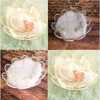 Wholesale new arrival photography props for sale - Group buy New Arrival Newborn No Blanket Children Photography White Flowers Wrought Iron Round Net Photography Props Basket Props Toy Gift