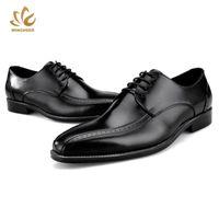 european men sapatos de verão venda por atacado-Wincheer Fatos Sapatos de 2019 Verão Marca Shoes respirável homens europeus de luxo oficial sapato de couro preto Brown