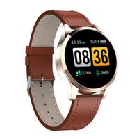 su geçirmez hücre izle toptan satış-Q9 smart watch su geçirmez mesaj çağrı hatırlatma smartwatch erkekler nabız iphone android cep telefonu için moda spor izci