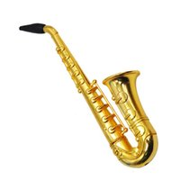 mini saxofone venda por atacado-Pequeno Saxofone Forma Tubo de Metal Trompete Tubos de Tabaco Mini Fumador Portátil Atacado e Varejo Acessórios Fumar